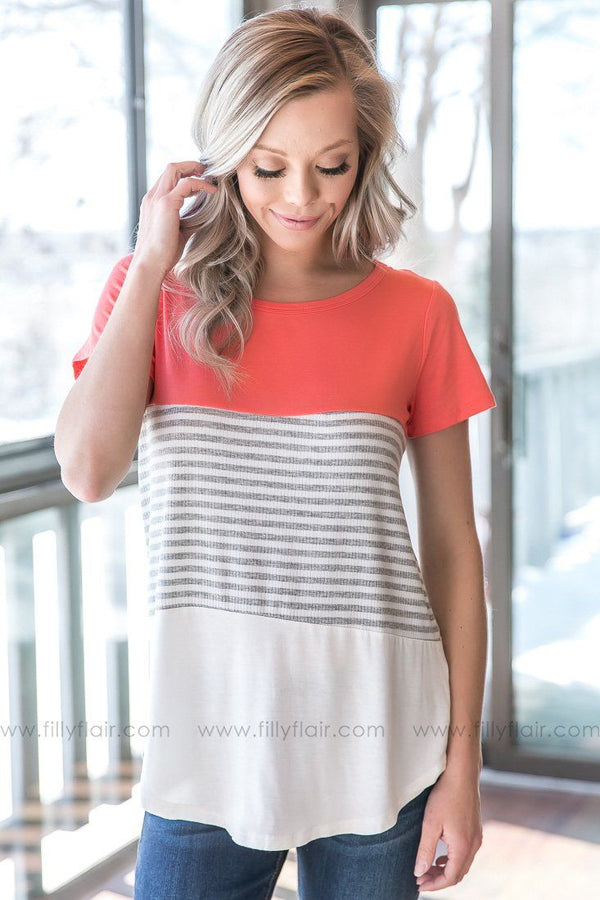 Get To Living Striped Color Block Tee In Coral