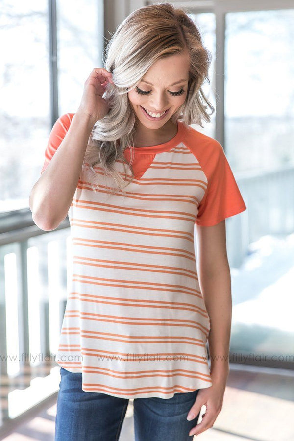 Let It Be Striped Color Block Tee In Salmon