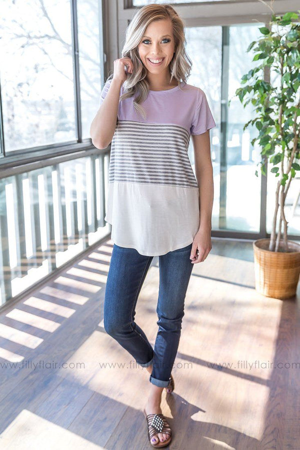 Get To Living Striped Color Block Tee In Lilac