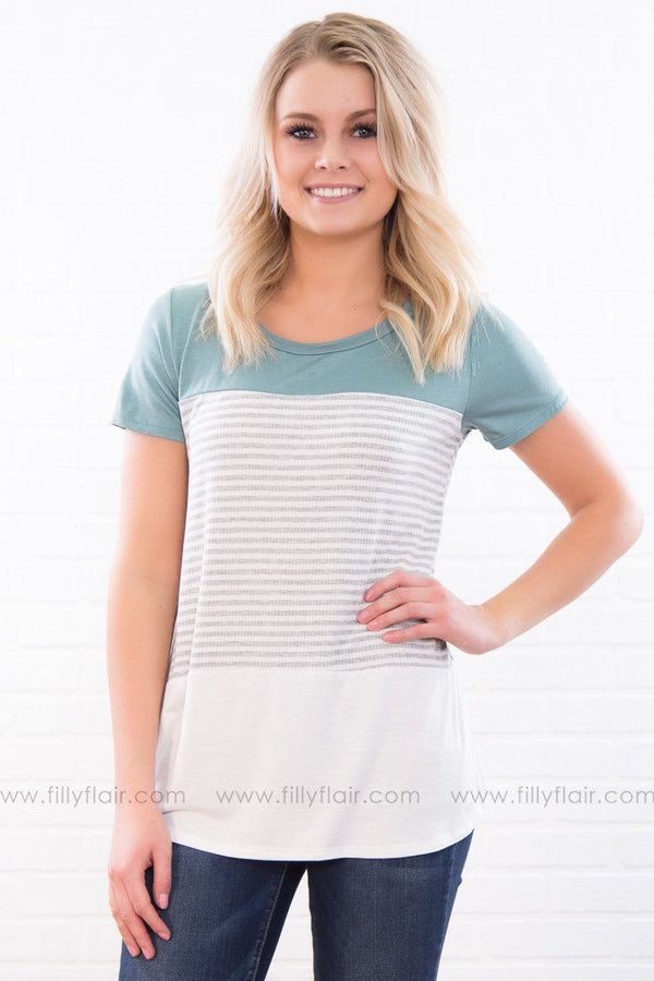 Get To Living Striped Color Block Tee In Sage