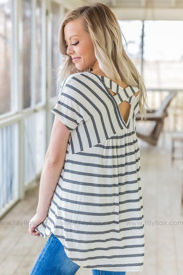 Just A Girl Striped Criss Cross Back Top In Charcoal