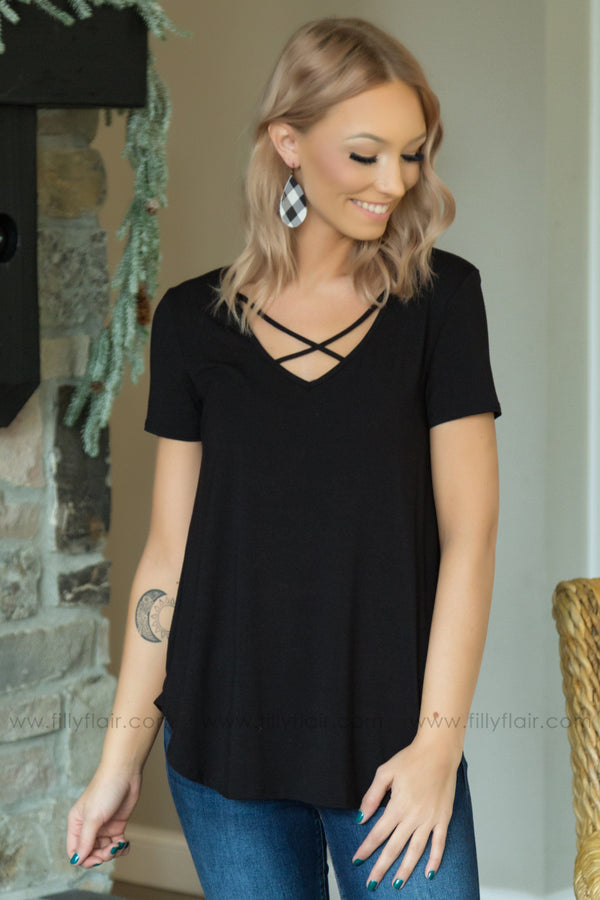 All My Days Short Sleeve Criss Cross Top in Black - Filly Flair