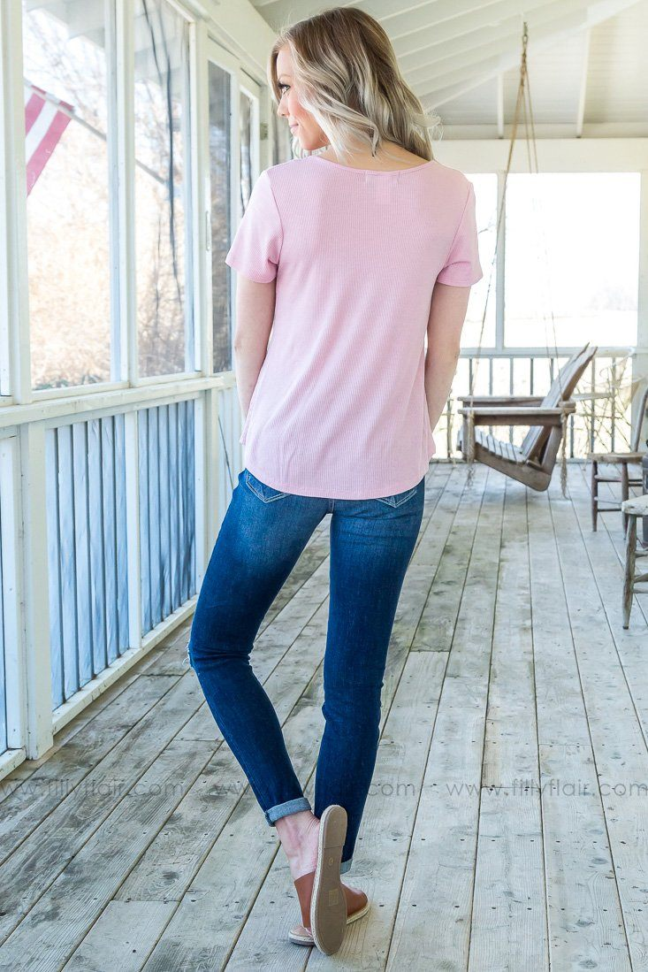 Cancel Your Plans Short Sleeve Criss Cross Top In Pink - Filly Flair