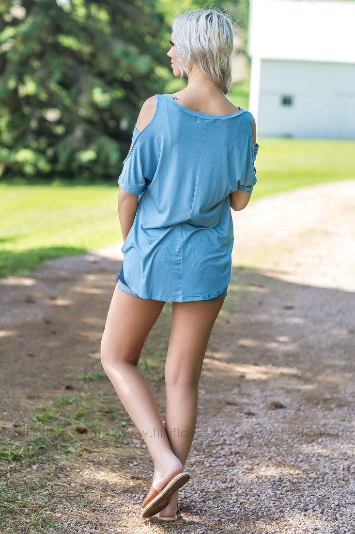 Off and On Short Sleeve Cut Out Dolman Top In Smoke Blue - Filly Flair
