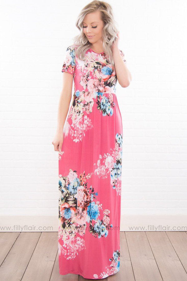 Breathe Deeply Floral Short Sleeve Maxi Dress In Hot Pink