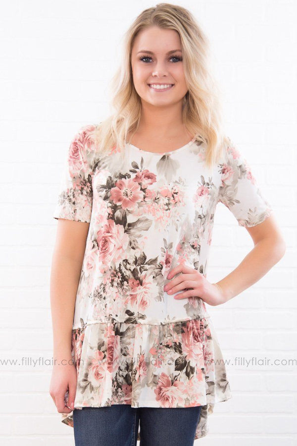 Where You Lead Floral Ruffle Hem Top In Ivory