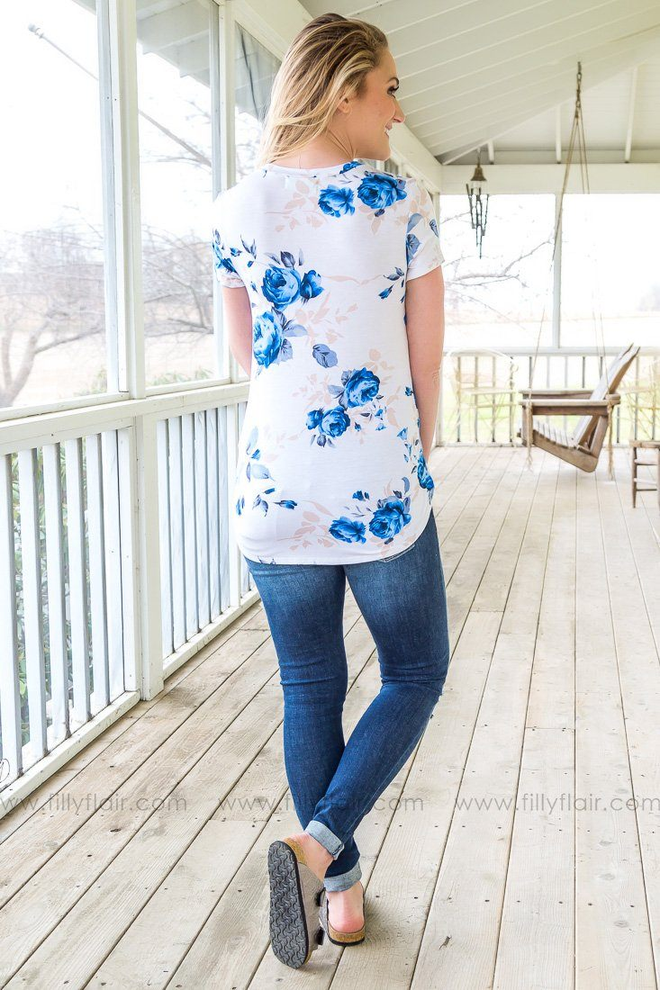 Your Hand In Mine Short Sleeve Floral Top In Ivory Blue - Filly Flair
