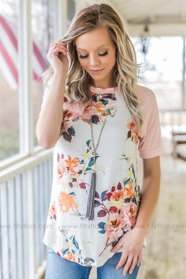 Glory Days Floral Short Sleeve Top In Pink White