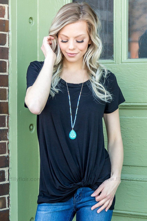 There By Morning Short Sleeve Knotted Top In Black