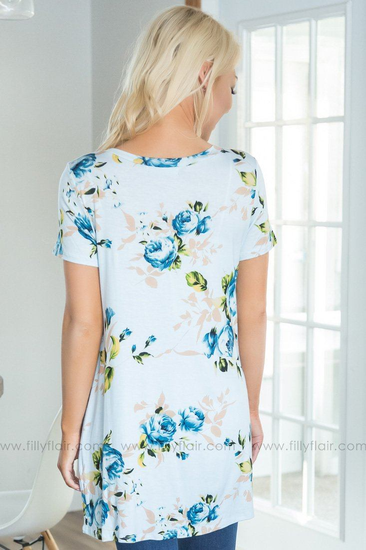 Anyone Else Floral Knotted Top In Light Blue