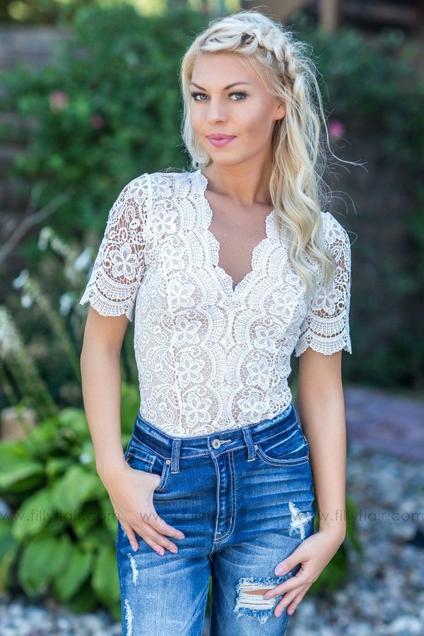 *090418 Let's Talk Short Sleeve Lace Bodysuit In White - Filly Flair