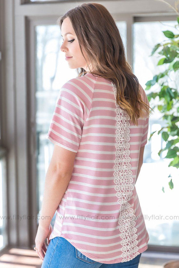 Don't Mince Words Striped Lace Detail Top In Pink