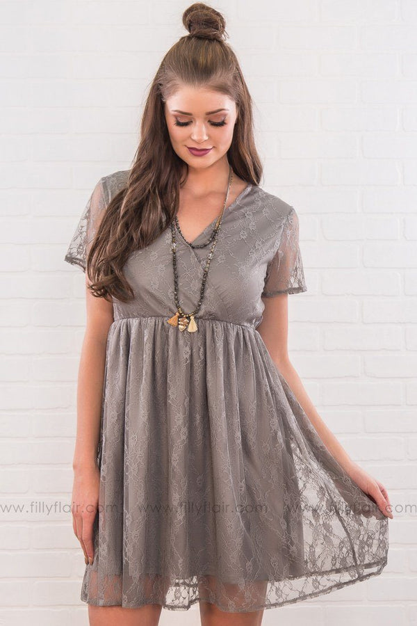 Born To Live Lace Short Sleeve Mini Dress In Slate
