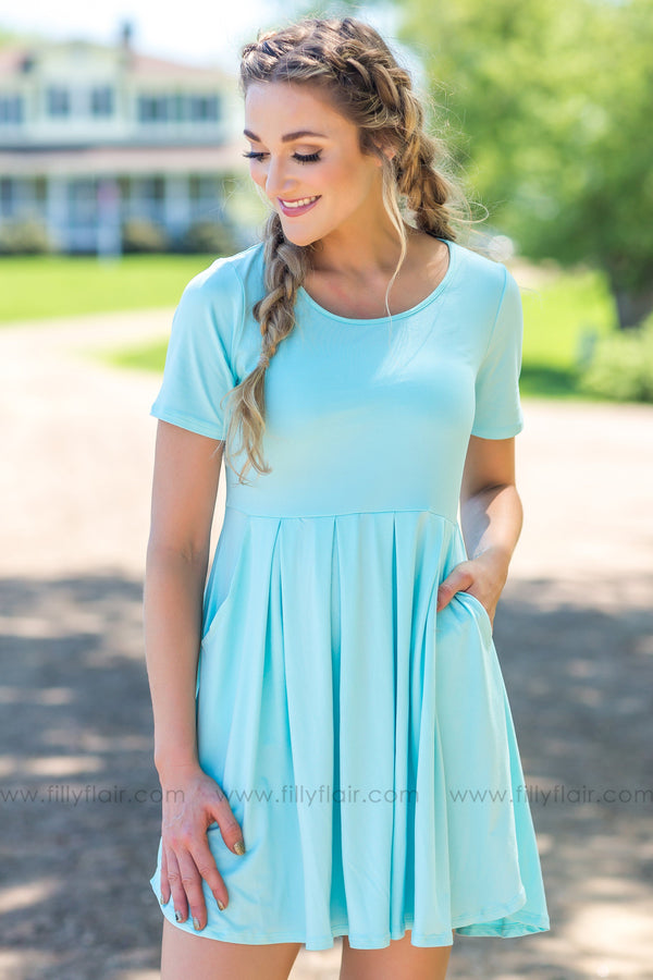 Keep Waiting For You Short Sleeve Pocket Dress In Aqua