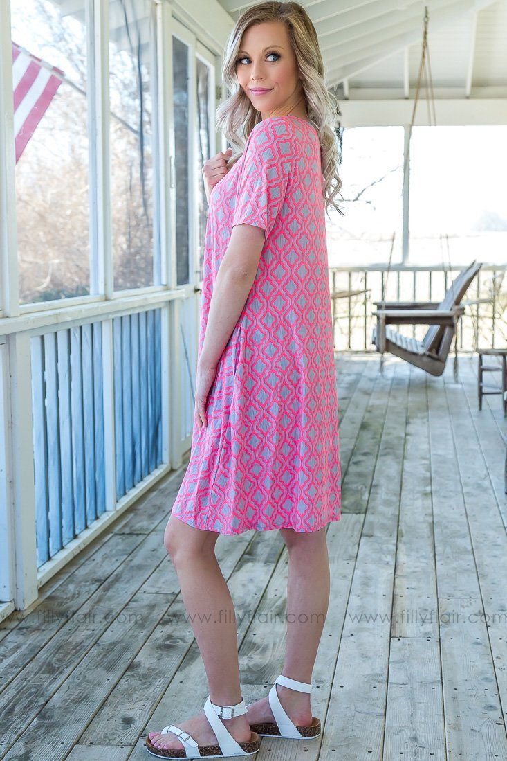 Life Of The Party Short Sleeve Pocket Dress In Hot Pink