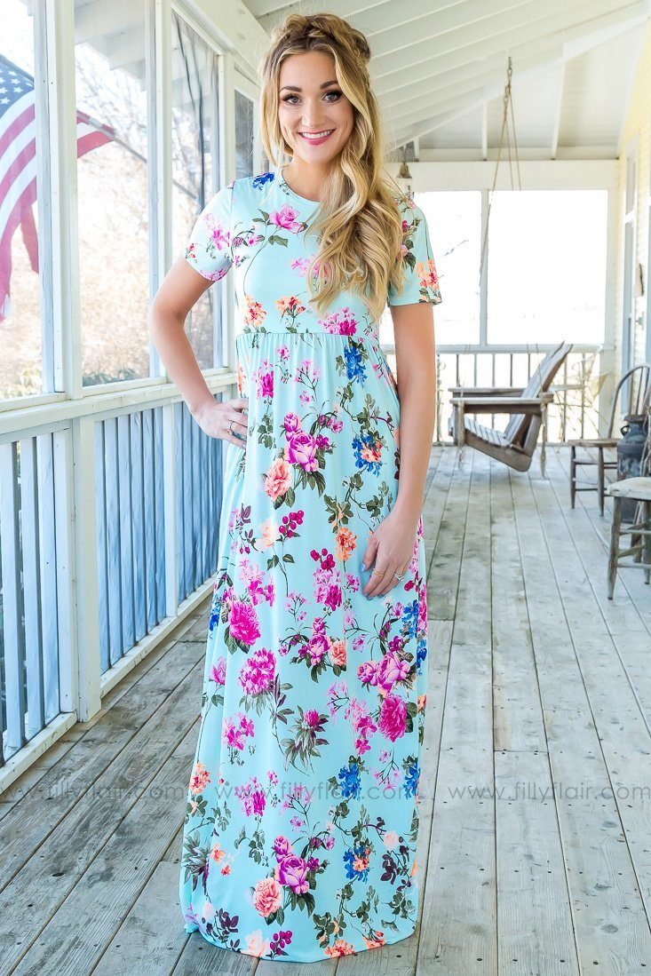 Here Today Gone Tomorrow Floral Maxi Dress In Mint - Filly Flair