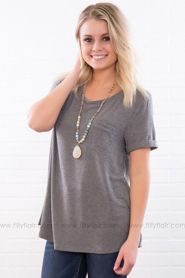 Need You Now Relaxed Fit Tee In Charcoal