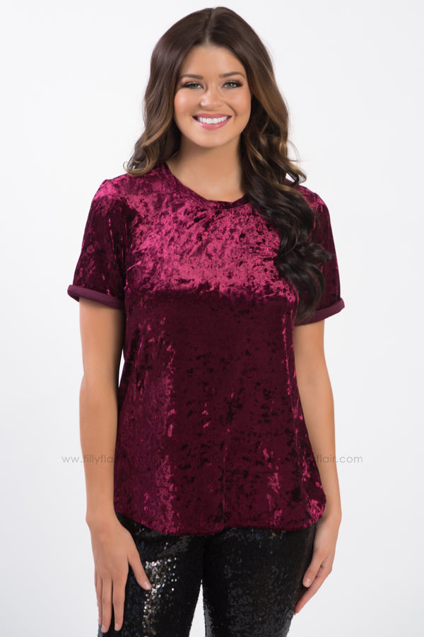 *Melt My Heart Short Sleeve Velvet Top In Burgundy* - Filly Flair