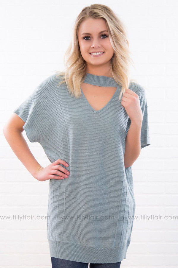 Someone I Used To Know Knitted Key Hole Top In Dusty Blue