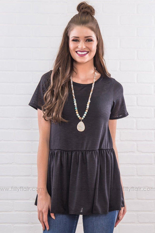 Getting Over You Ruffle Hem Top In Black