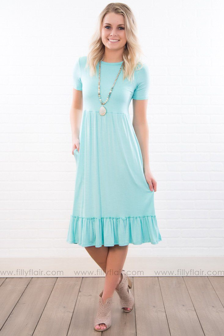 Good Times Solid Ruffle Dress In Mint