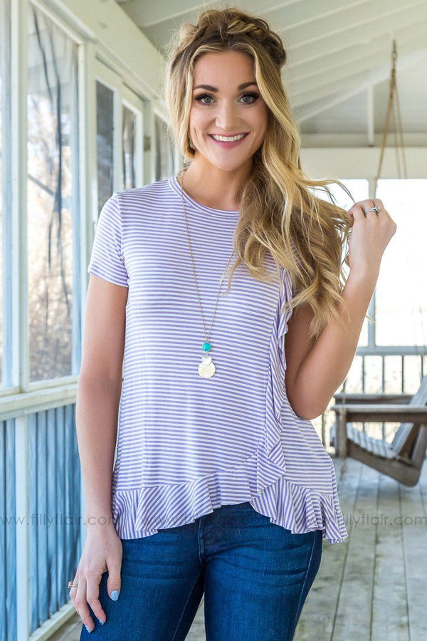 No Better Short Sleeve Ruffle Striped Top In Lavender