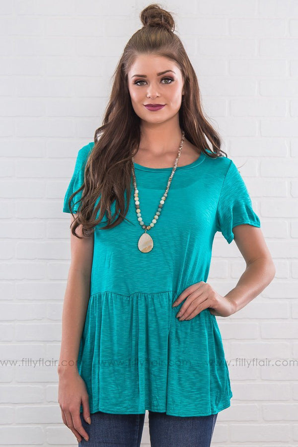 Getting Over You Ruffle Hem Top In Jade