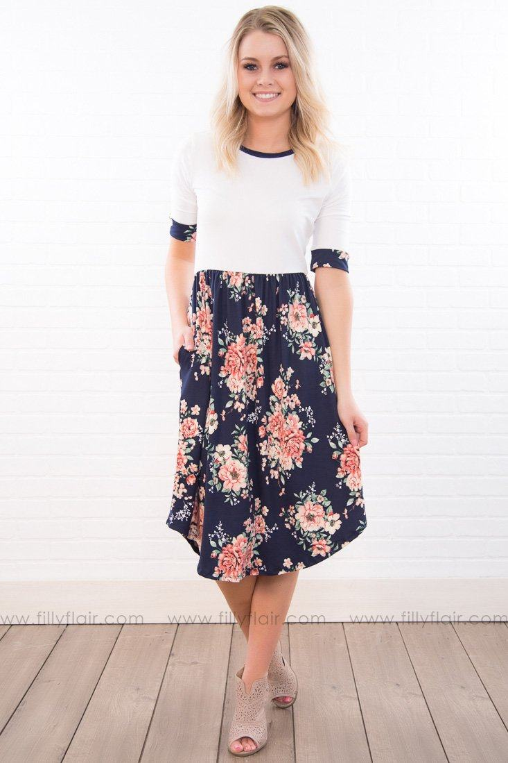 Like Mother Does Floral Trim Dress In Navy