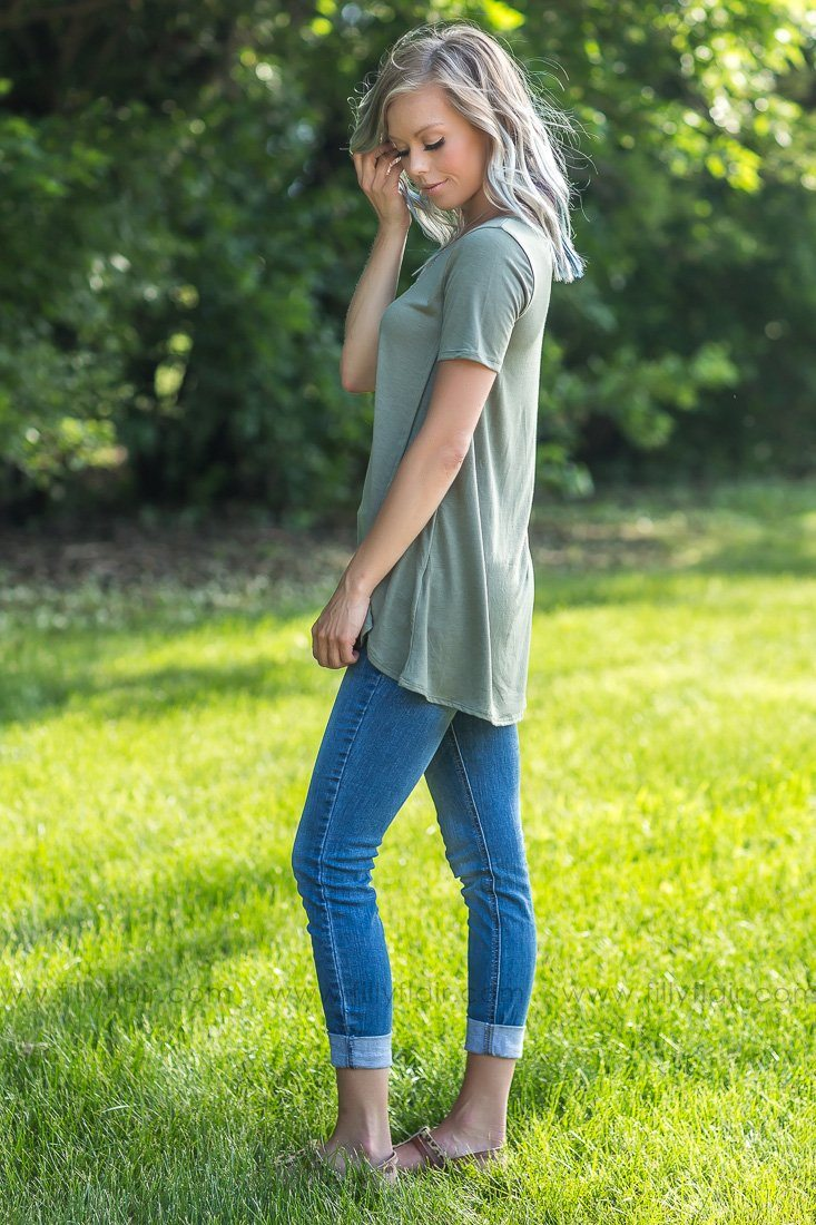 Hope In The Dark Short Sleeve Side Button Top In Olive - Filly Flair