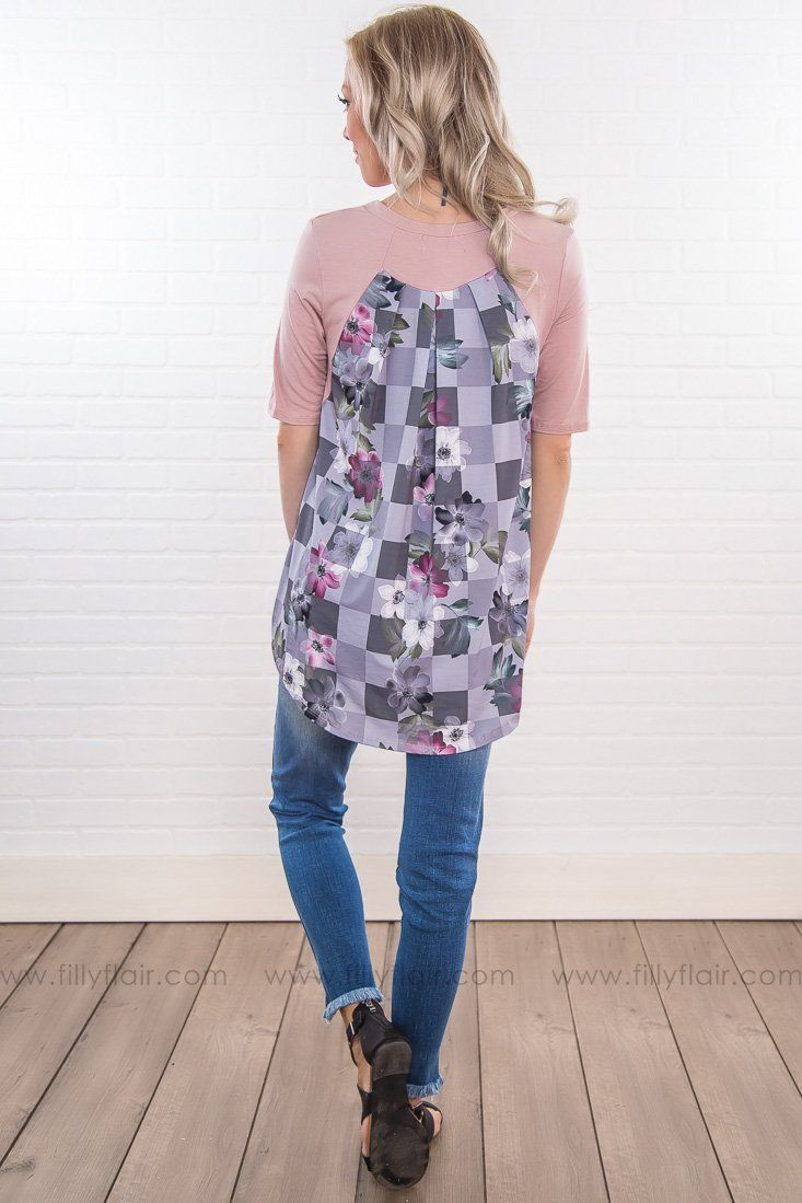 Can't Get Enough Floral Back Pocket Top In Dusty Pink