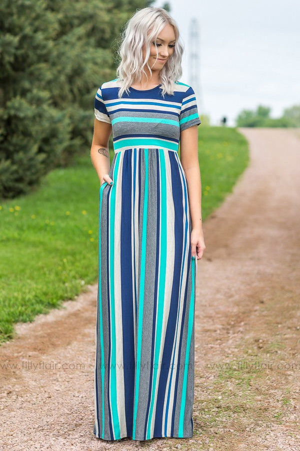 Pushing Away Short Sleeve Striped Maxi Dress In Navy Aqua
