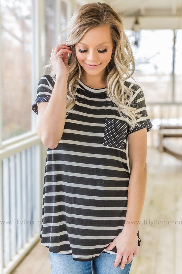 Nobody's Watching Striped Polka Dot Pocket Top In Black