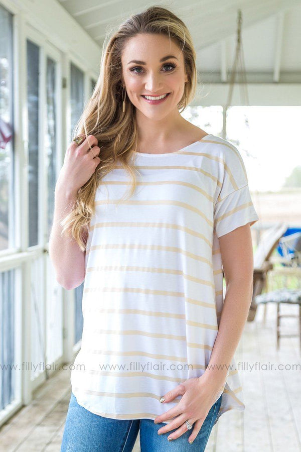 Take Me Home Short Sleeve Striped Top In Gold White