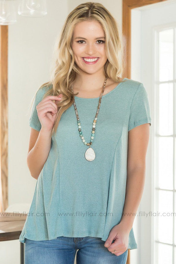 Fool Hearted Lace Up Top In Light Mint