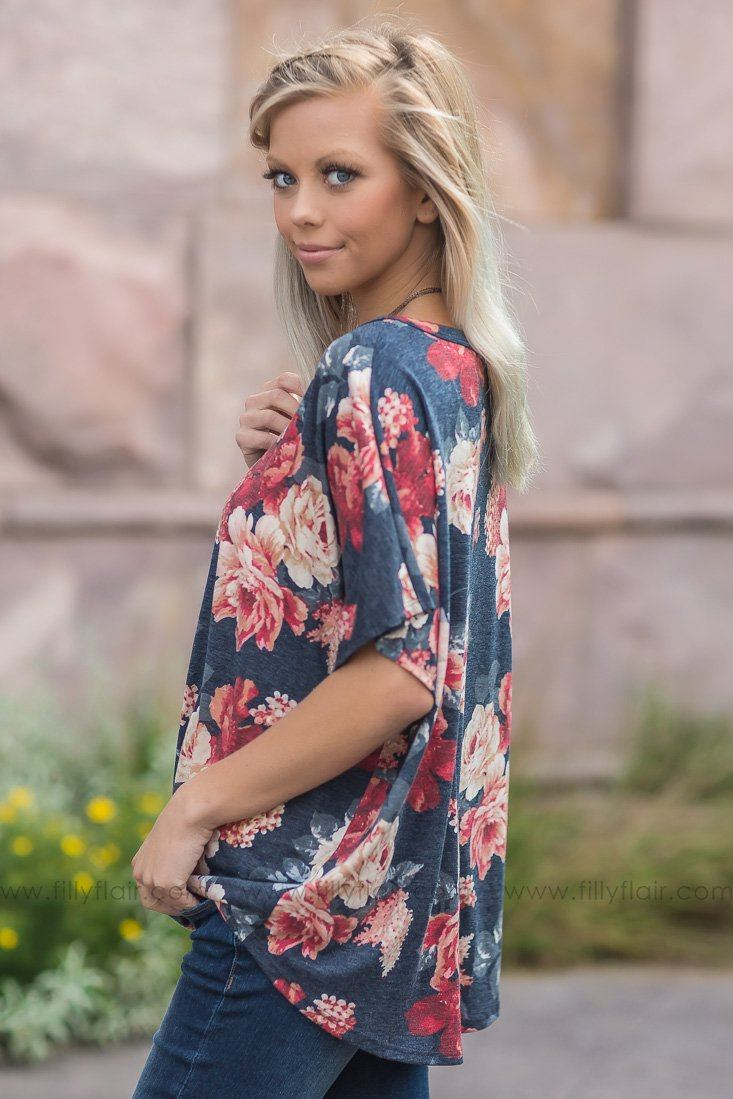 Dreaming of You Floral Dolman Top in Navy - Filly Flair