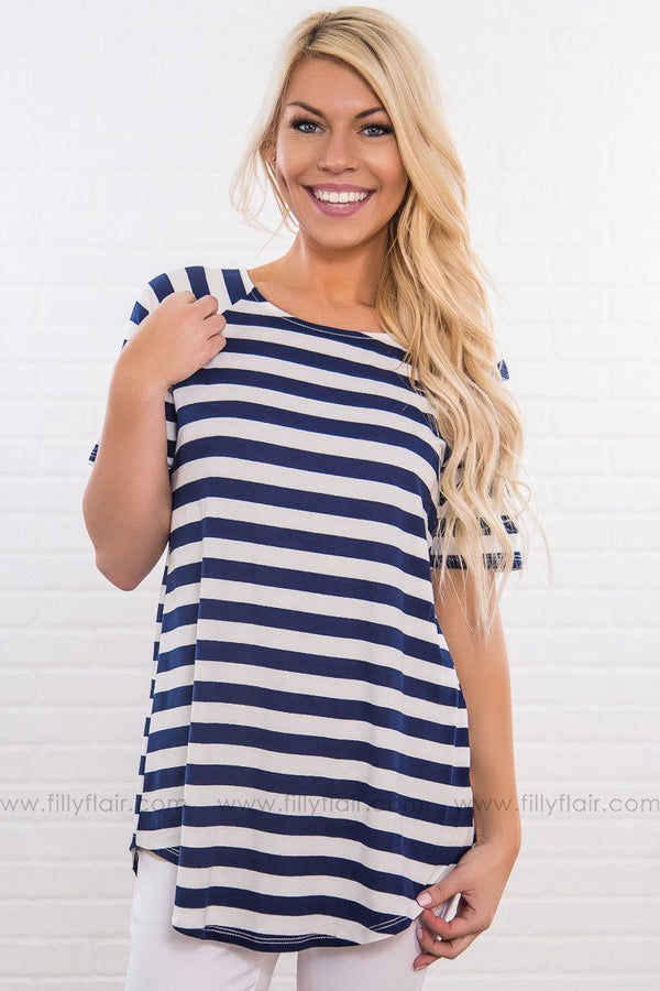 Strong Staple Striped Short Sleeve Top In Navy