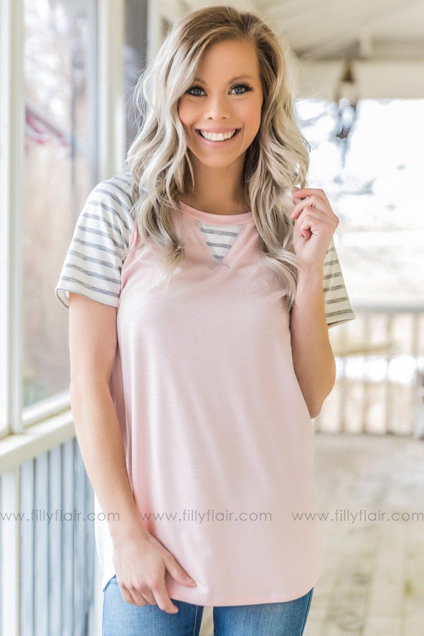 No Guilt Striped Color Block Top In Light Pink Grey
