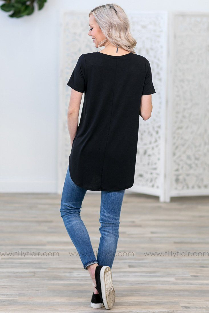 Pulls Me In Short Sleeve V Neck Basic Top in Black - Filly Flair