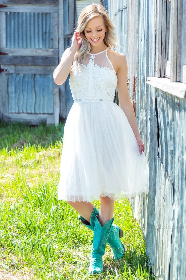 Love To Look At You Halter Lace Tulle Dress In White - Filly Flair