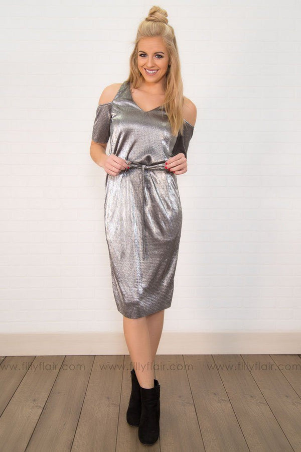 The Midnight Hour Mini Dress In Shining Silver