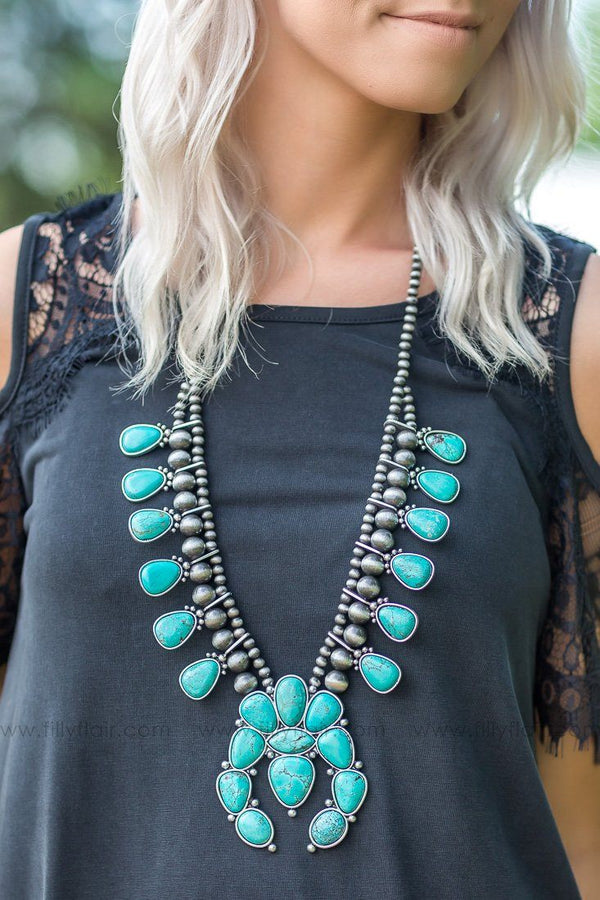 In Full Bloom Authentic Turquoise Squash Blossom Necklace - Filly Flair