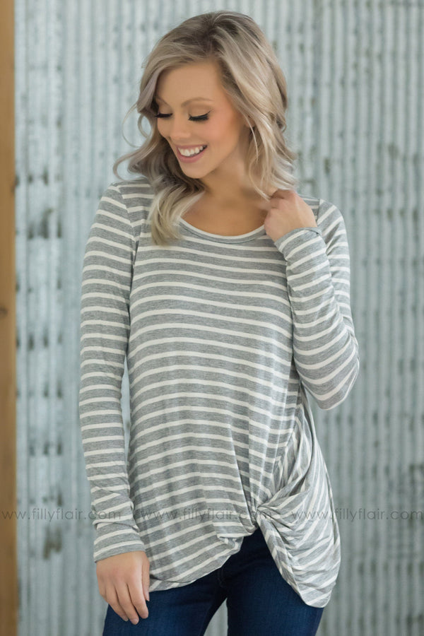 Don't Mind Me Striped Knotted Hem Top in Grey White - Filly Flair