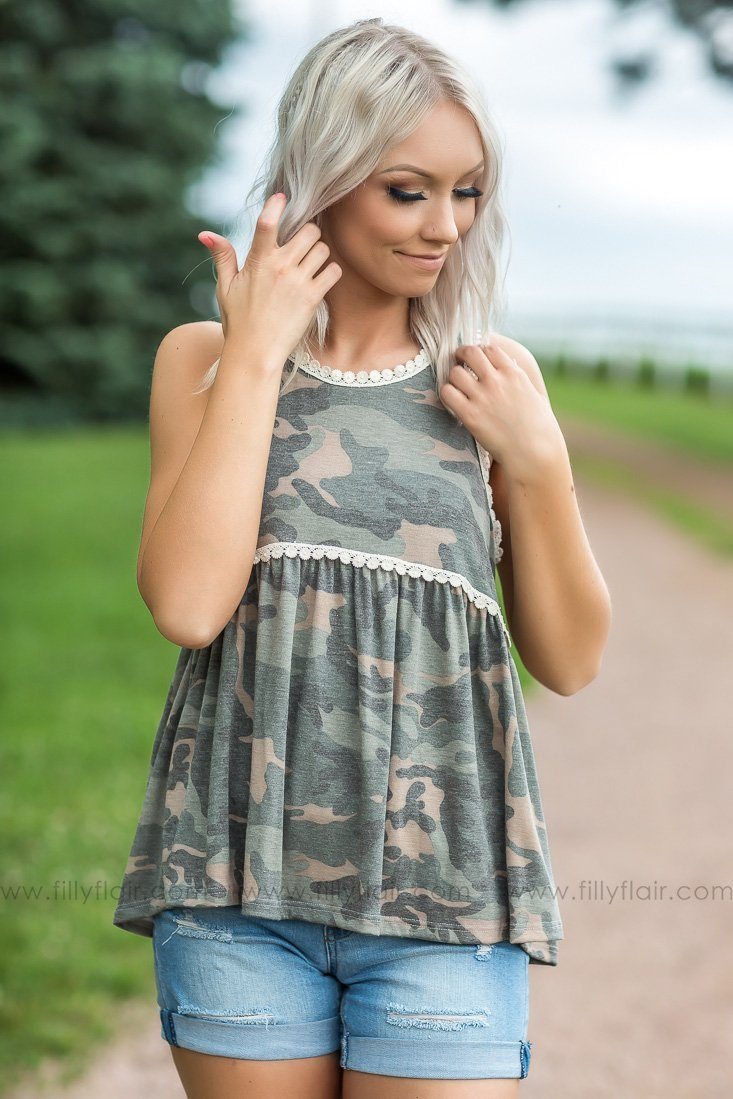 Bittersweet Goodbye Sleeveless Baby Doll Camo Print Top - Filly Flair