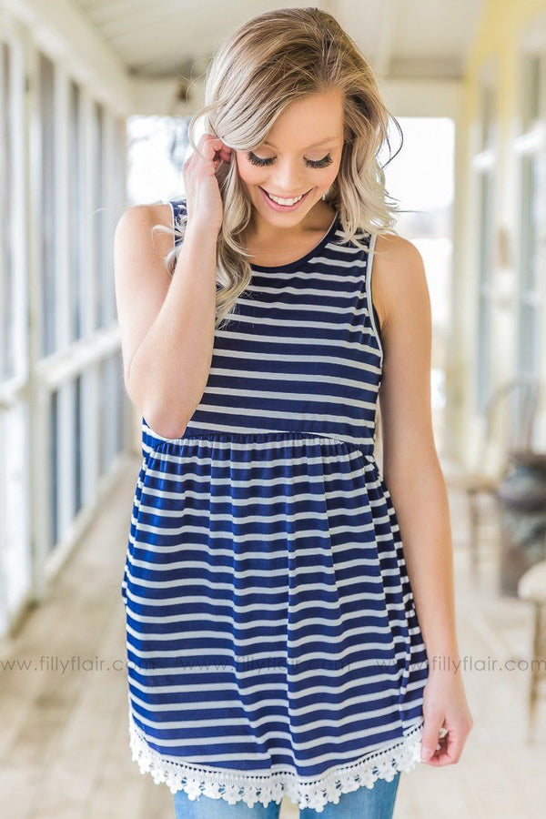 Something About You Striped Lace Top In Navy Ivory