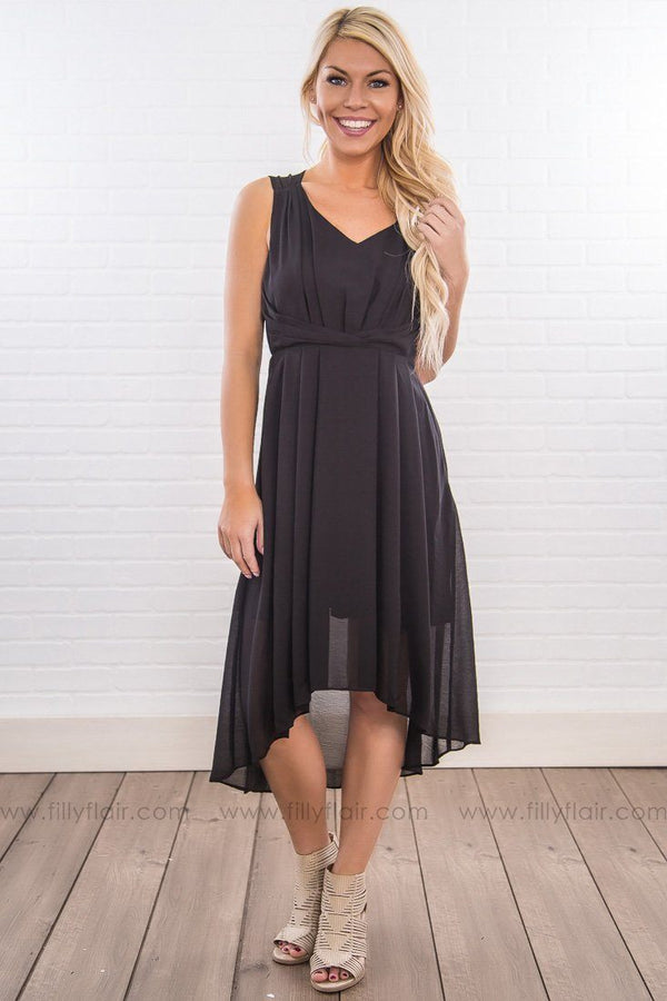 Third Degree Sleeveless Hi Low Dress In Black