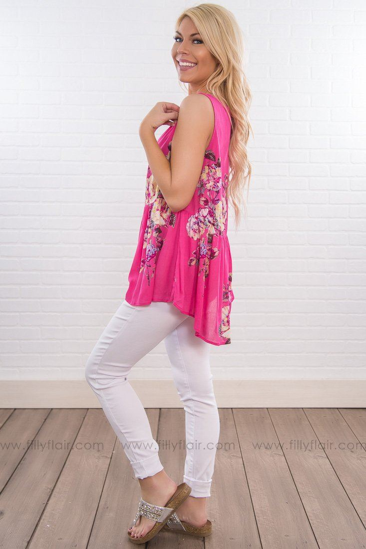 Behind Every Girl Floral Sleeveless Baby Doll Top In Hot Pink