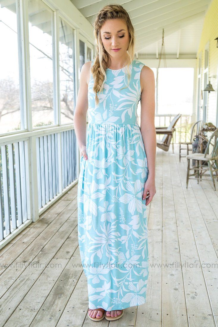 Side By Side Sleeveless Floral Maxi Dress In Robin's Egg Blue