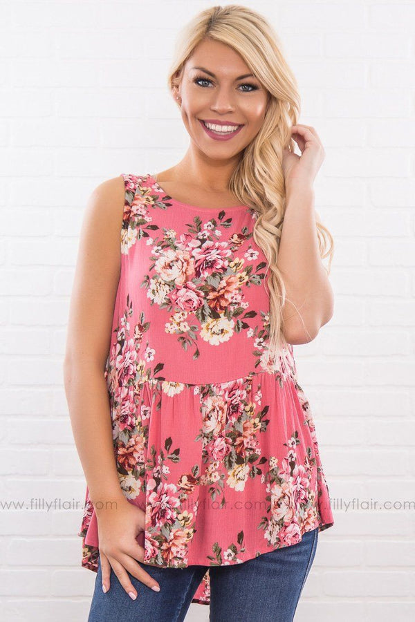 There's Still Time Floral Baby Doll Top In Pink