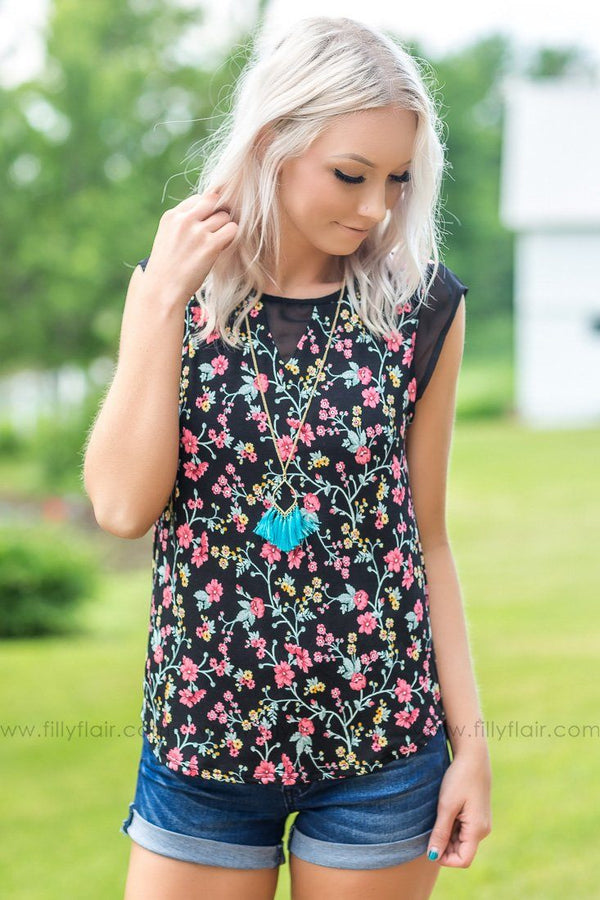 Filly Flair Exclusive: Summer In The Valley Sleeveless Floral Top In Black - Filly Flair