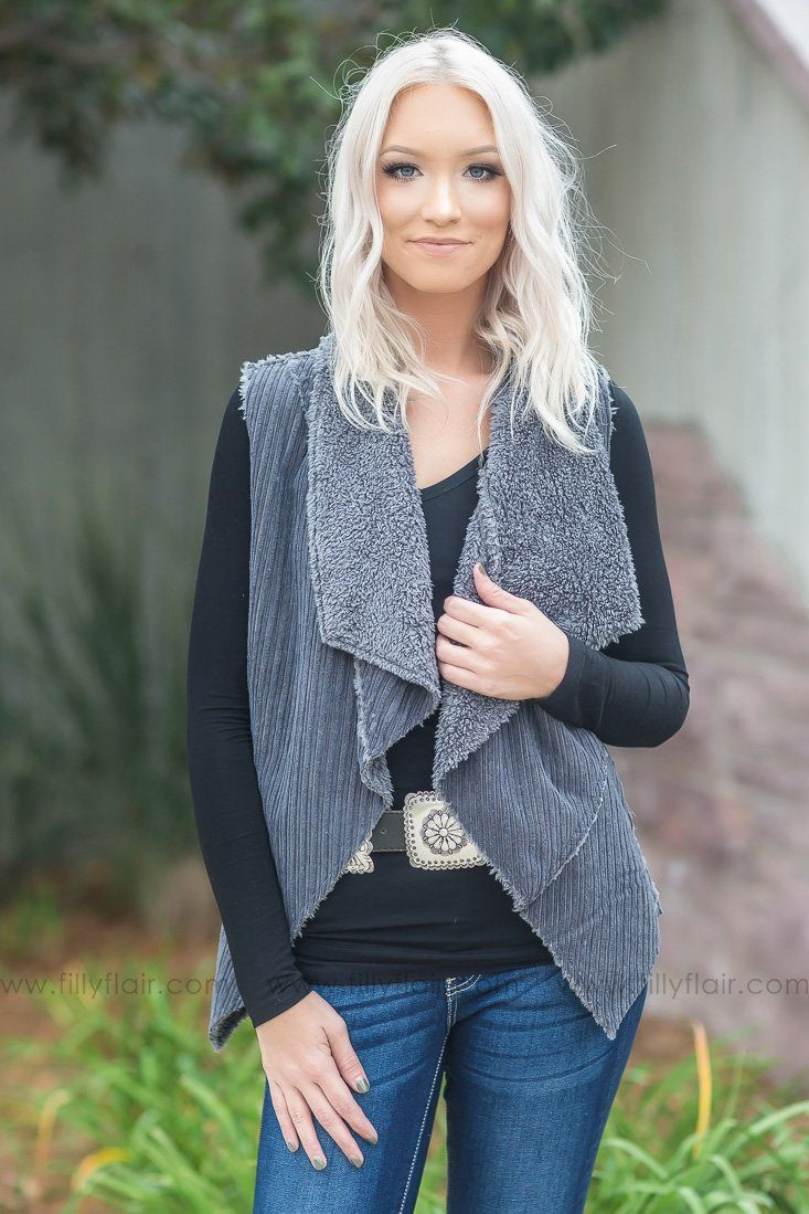 You'll Think Of Me Waterfall Open Vest In Charcoal - Filly Flair